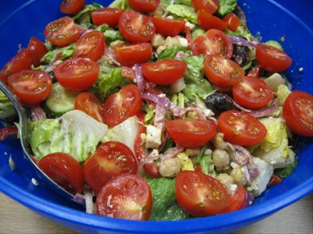 Mediterranean Garbanzo Salami Salad