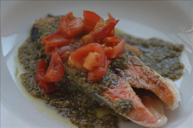 Herb-Crusted Sautéed Salmon Fillets With Pistou