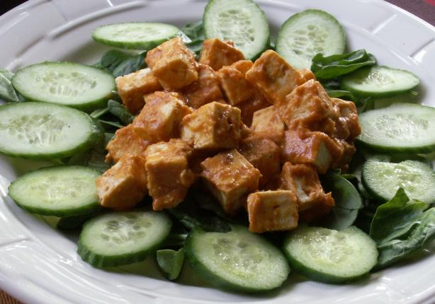 Pan Seared Tofu With Spicy Peanut Sauce
