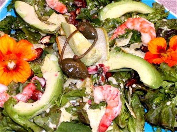 Shrimp, Avocado, Almonds, Apple Chips, & Nasturtium Salad