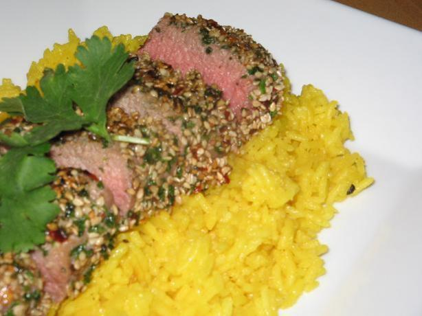Sesame Chili and Parsley Crusted Lamb Fillets