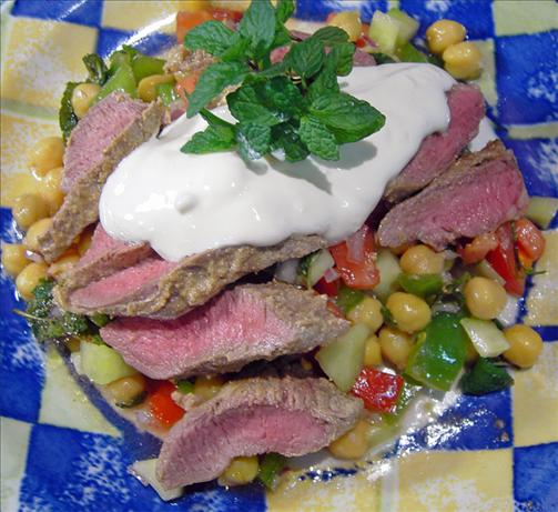 Mediterranean Lamb on Chickpea and Tomato Salad