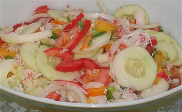 Vidalia Onion, Crab and Tomato Salad
