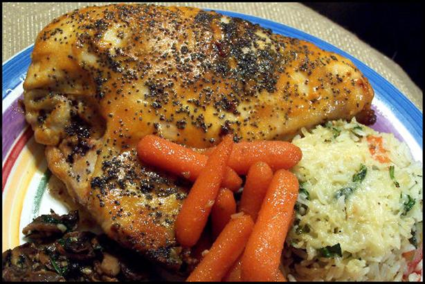 Mustard Baked Chicken With Poppy Seeds