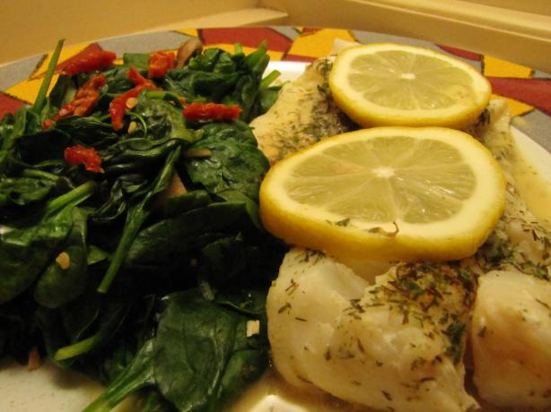 Lemon Dill Cod With Mustard Sauce and Garlic Wilted Spinach