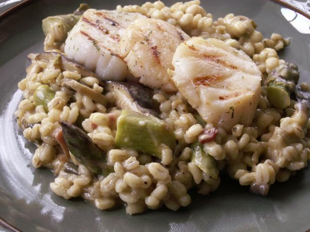Barley Risotto With Asparagus and Shiitakes