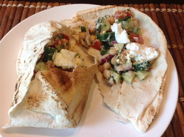 Moroccan Garbanzo Bean and Feta Pitas