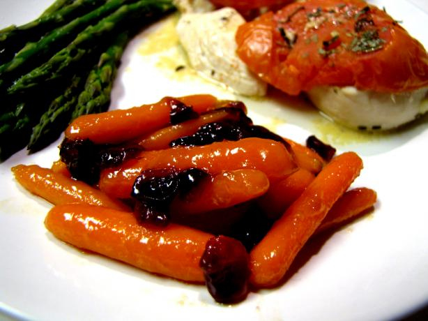 Apricot Orange Glazed Carrots With Cranberries