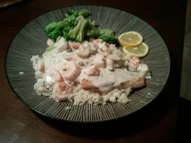 Tilapia With a Creamy Shrimp & Crab White Wine Sauce
