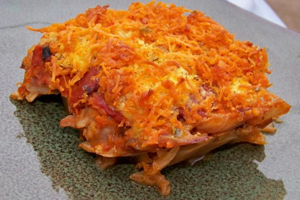 Vegan Cheesy Rice & Cabbage Casserole