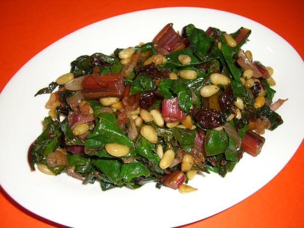 Braised Swiss Chard With Raisins and Pine Nuts