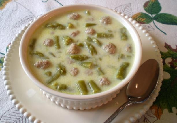 Asparagus Soup With Mini Meatballs