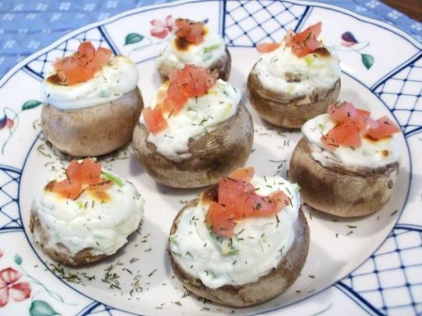 Kathy's Cheesy Onion Stuffed Mushrooms