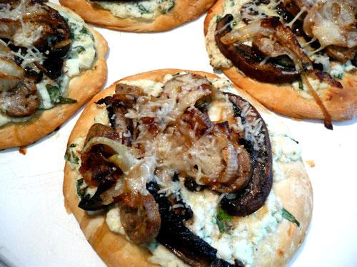 Caramelized Onion-Portabello Mini Pizzas