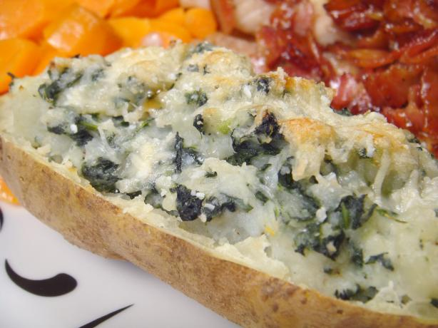 Spinach and Cheese Baked Potato