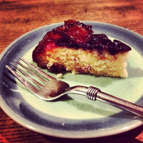 Fresh Plum and Blueberry Upside Down Cake - the Vegan Version