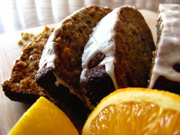 Moist Banana Nut Bread With Orange Glaze