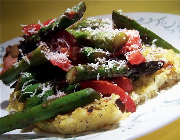 Grilled Herb Polenta With Asparagus, Tomatoes and Parmesan