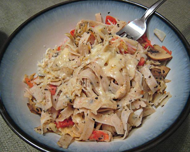 Garlic Crab Pasta With Mushroom and Tomato- Reduced Fat