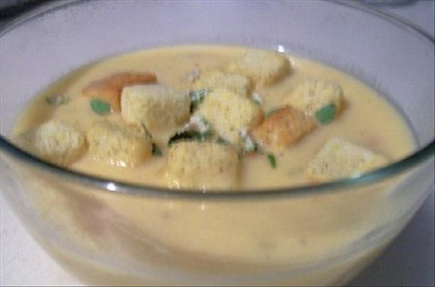 Cheese Soup With Pumpernickel Croutons