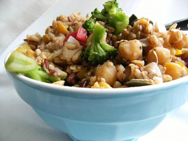 Easy Balsamic Chickpea, Brown Rice & Broccoli Salad