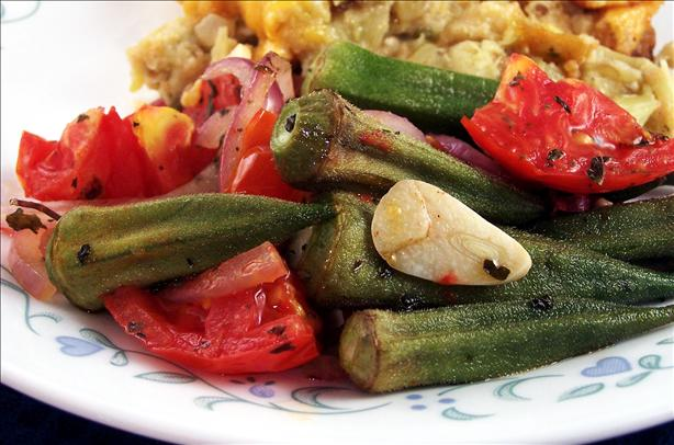 Roasted Okra, Tomatoes & Garlic