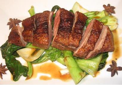 Five Spiced Duck Breast With Bok Choy and Gai Larn