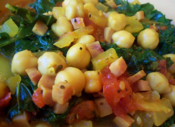 Sautéed Chickpeas With Ham and Kale