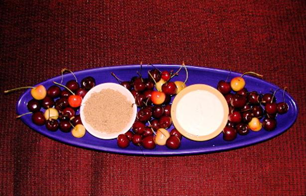 Cherries, Amaretto Sour Cream and Brown Sugar