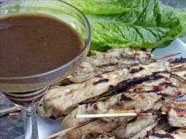 Sweet Chicken Skewers With a Peanut Dip