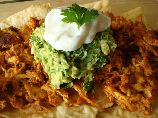 Roast Chicken-Chipotle Nachos With Cilantro-Avocado Crema