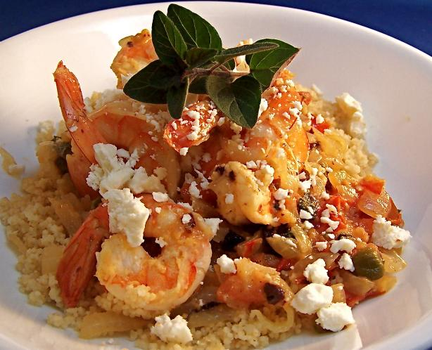 Shrimp With Feta over Couscous