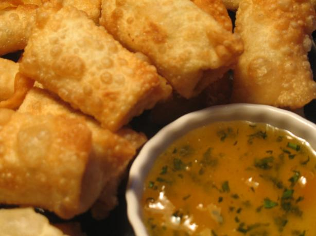 Crispy Bacon Basil Puffs With Lucky Peach Dipping Sauce