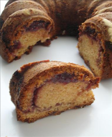 Peanut Butter Jelly Swirl Bundt Cake