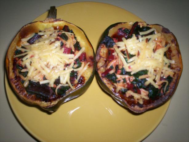 Garlic-Chard Stuffed Acorn Squash With Gruyere Cheese