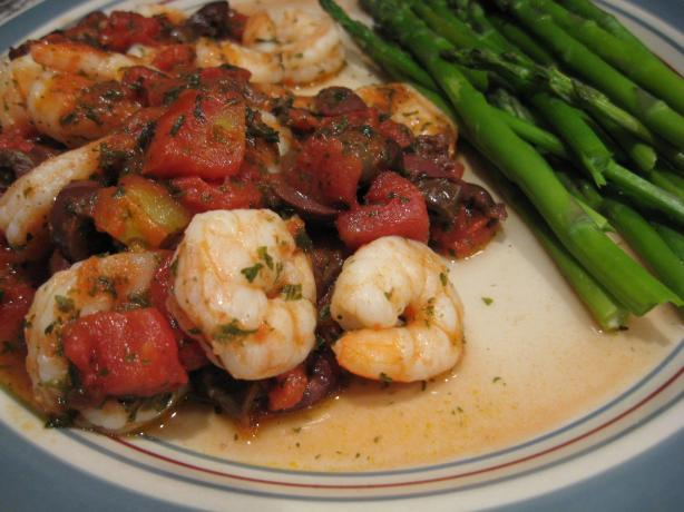 Shrimp With Tomatoes, Olives and Basil