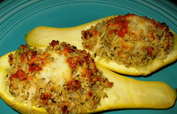 Baked Stuffed Yellow Squash Boats