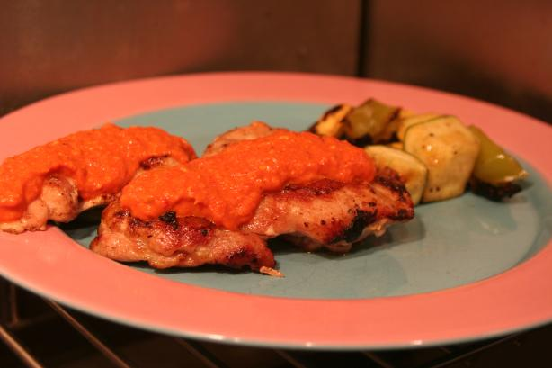 Pan-Fried Chicken With Red Pepper Pesto
