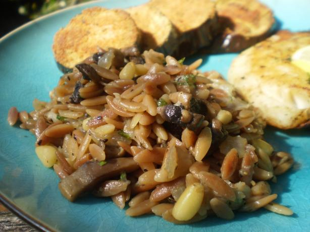 Mushroom Orzo Risotto With Pine Nuts