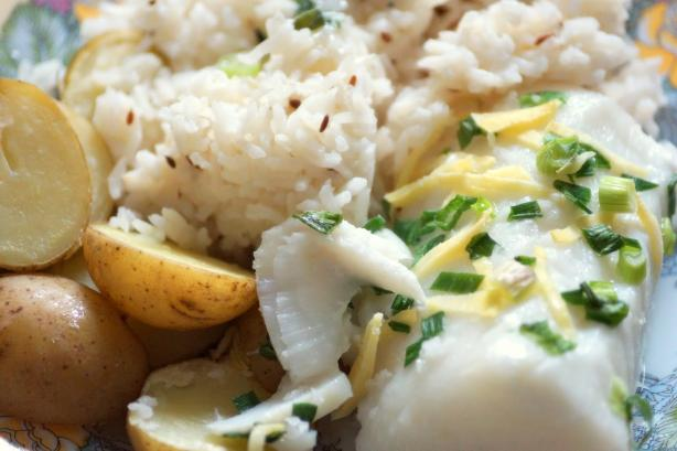 Baked White Sea Bass With Drunken Baby Potatoes and Cumin Rice