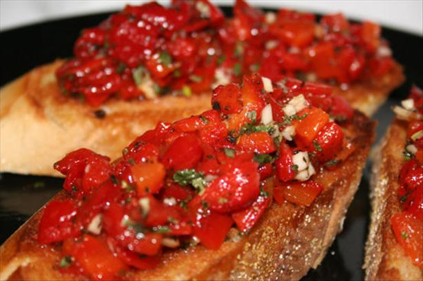 Red Pepper Bruschetta (No Tomatoes!)