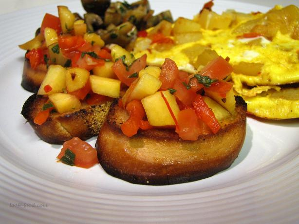 Peach and Roasted Red Pepper Bruschetta