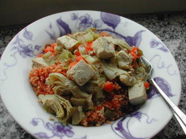 Savory Tofu and Vegetables over Tomato Couscous