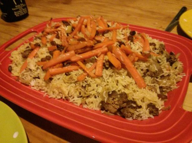 Qaubuli Palau (Yellow Rice With Carrots and Ground Beef)