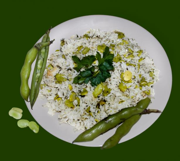Iraqi Layered Fresh Fava Bean/Broad Beans & Rice