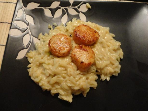 Seared Scallops or Shrimp With Orzo Risotto