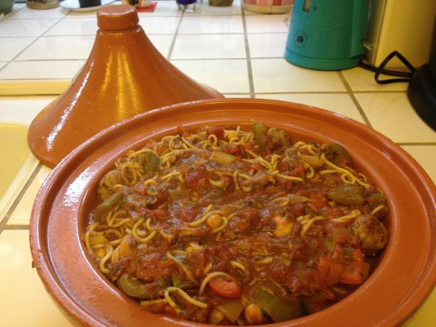 Moroccan Style Turkey Spaghetti & Meatballs
