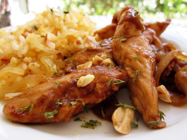 Sriracha-Glazed Chicken and Onions over Long-Grain Rice