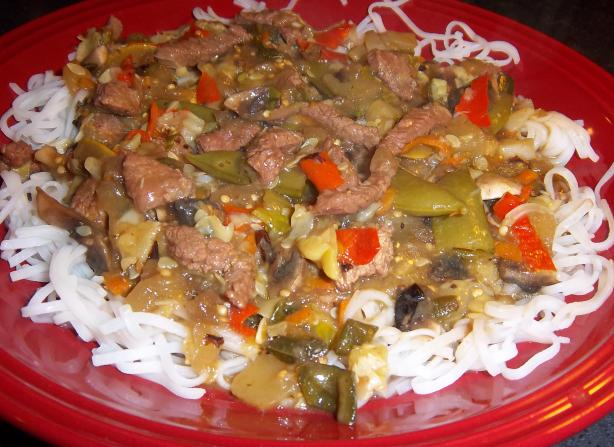 Vegetable Beef over Rice Noodles