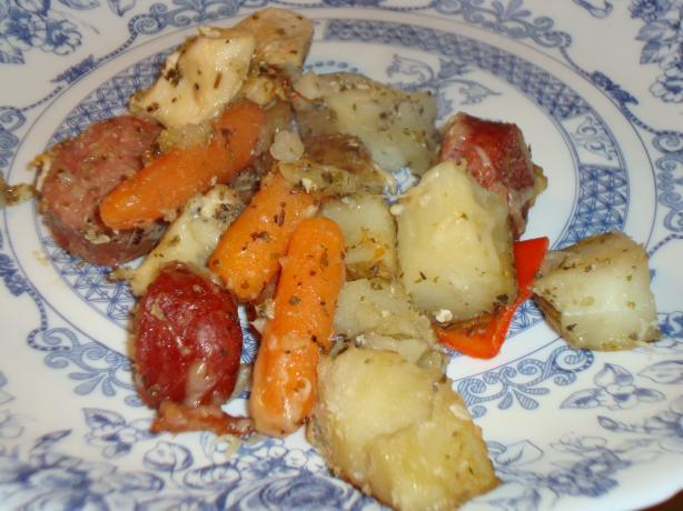 Italian Style Chicken, Sausage & Potato Bake